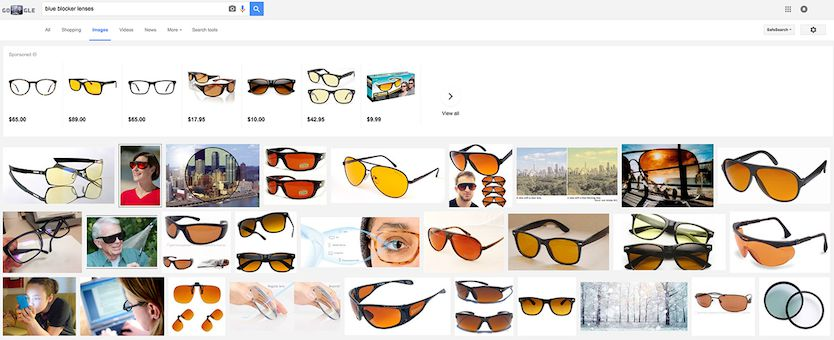 Image Search of Blue Blocker lenses